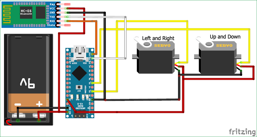 Face Tracking Robot With Arduino and Android circuit diagram