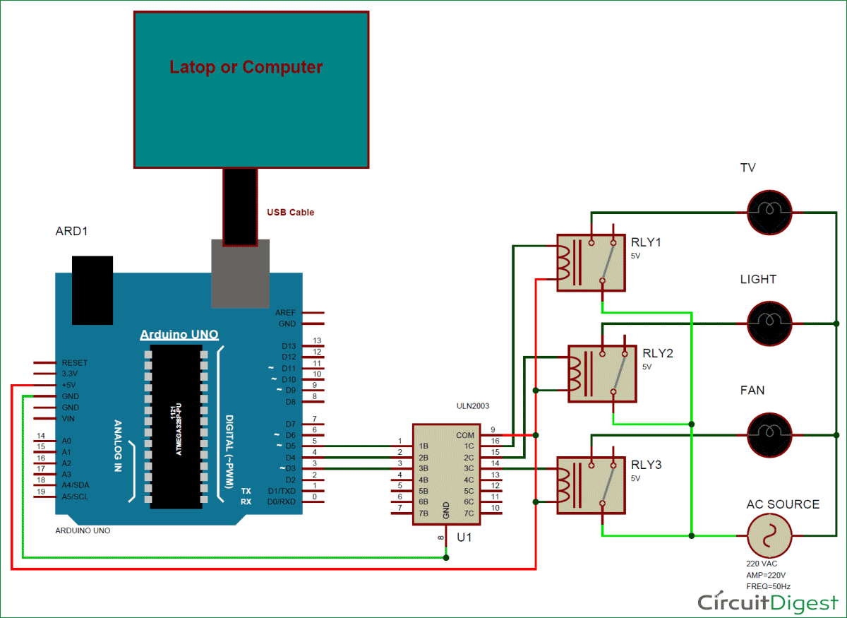 GUI Home Automation using MATLAB and Arduino Circuit Diagram
