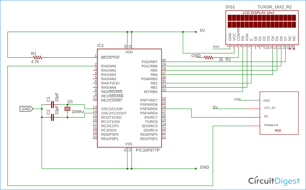 Gas Detection and PPM Measurement Circuit Diagram