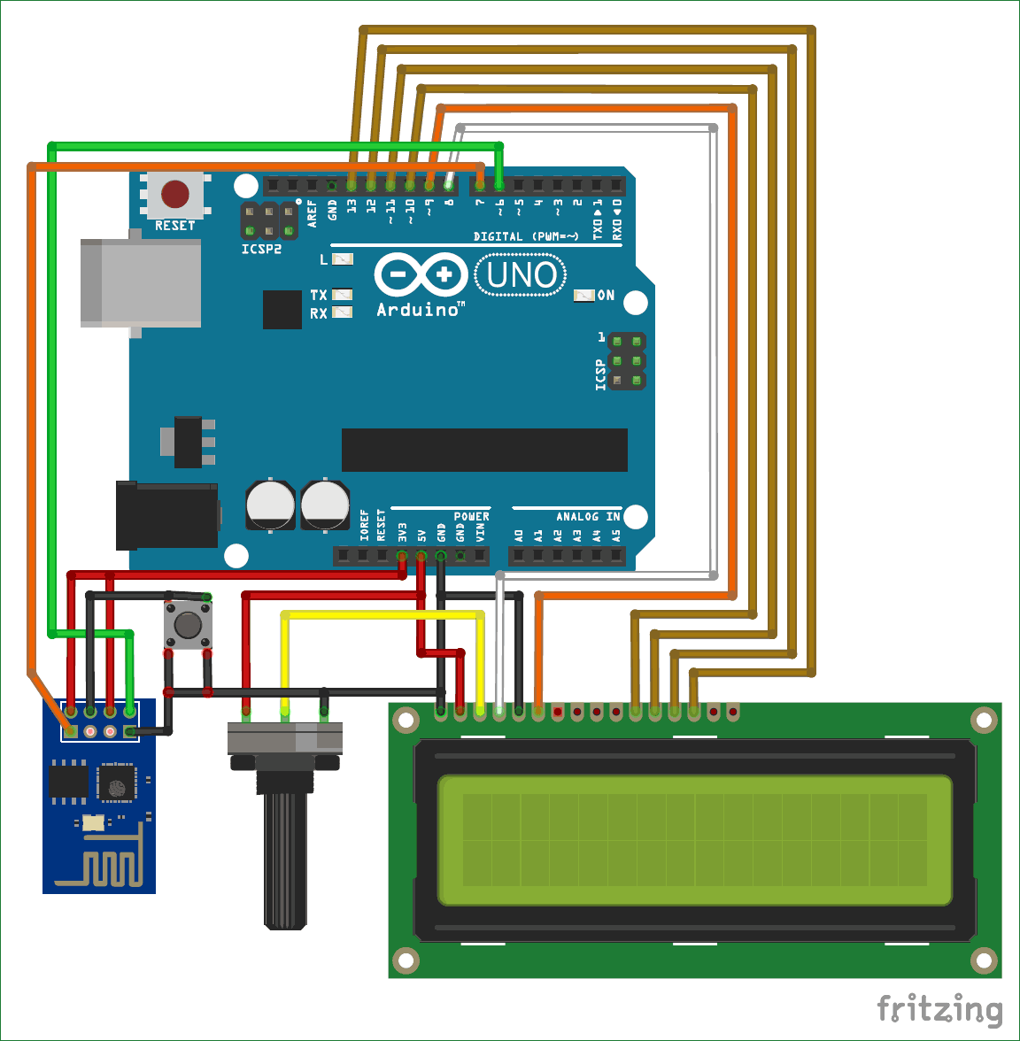 Interfacing Circuit diagram for Arduino with ESP8266