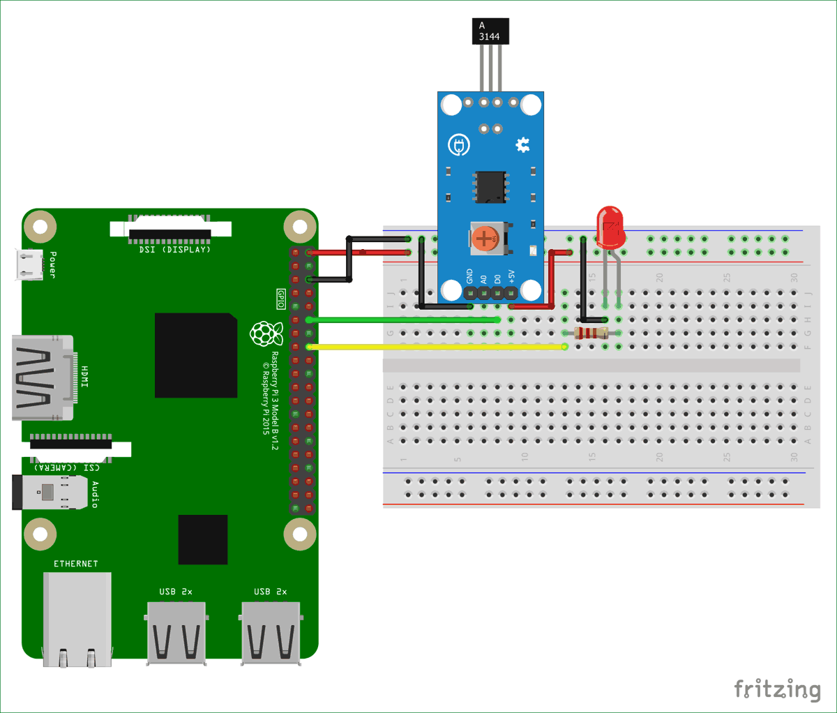 Interfacing Hall Sensor With Raspberry Pi Circuit Diagram Of