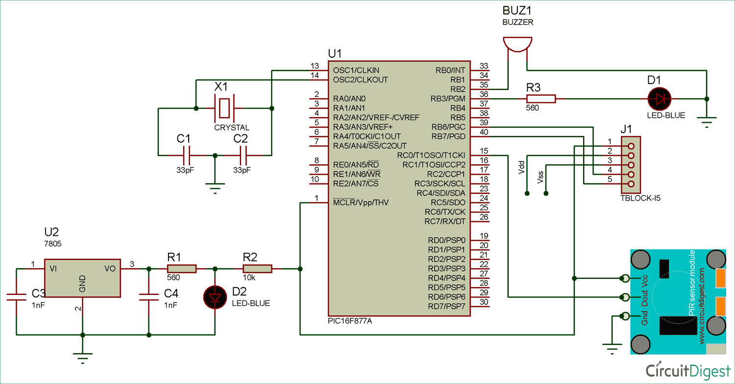 Interfacing Pir Sensor With Pic Microcontroller Make A Digital Thermometer Circuit Ic Ds18b20 18f4550 Diagram
