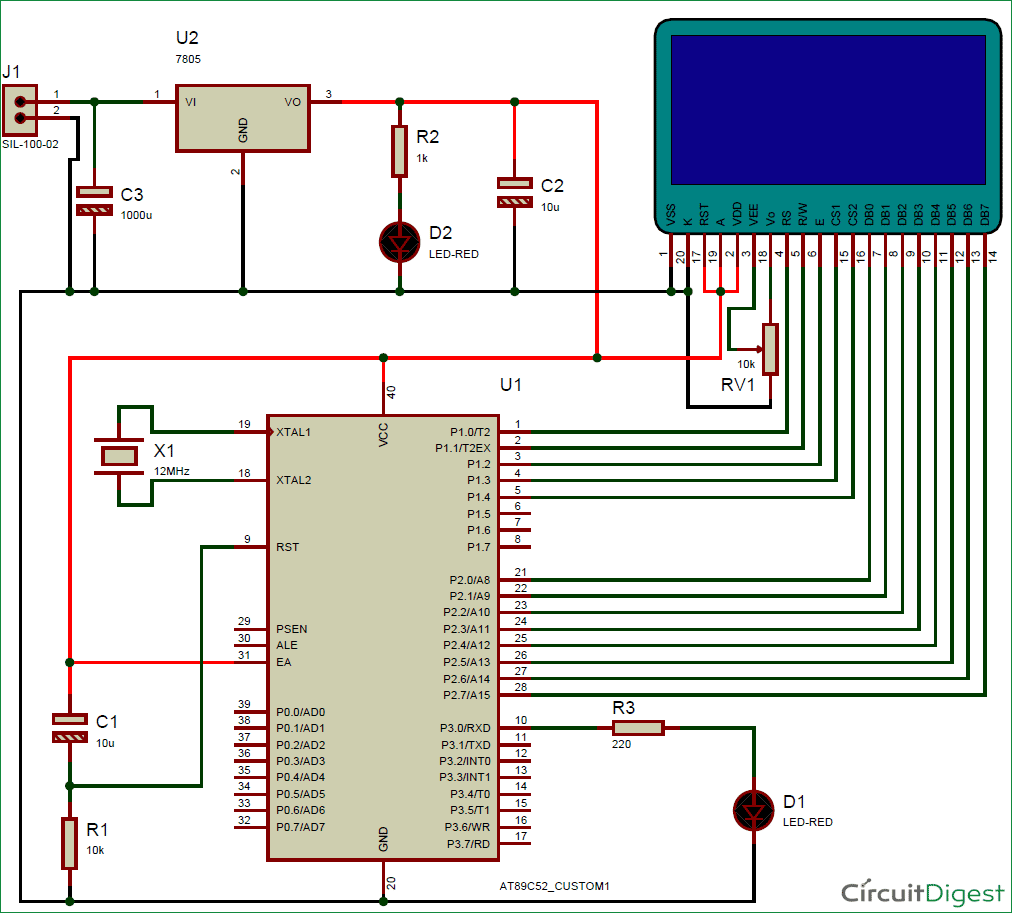 Graphic Lcd Interfacing With 8051 Microcontroller Circuit