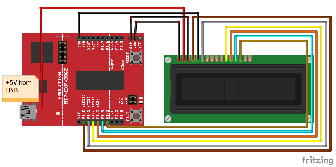 Interfacing LCD with MSP430G2 LaunchPad Circuit Diagram