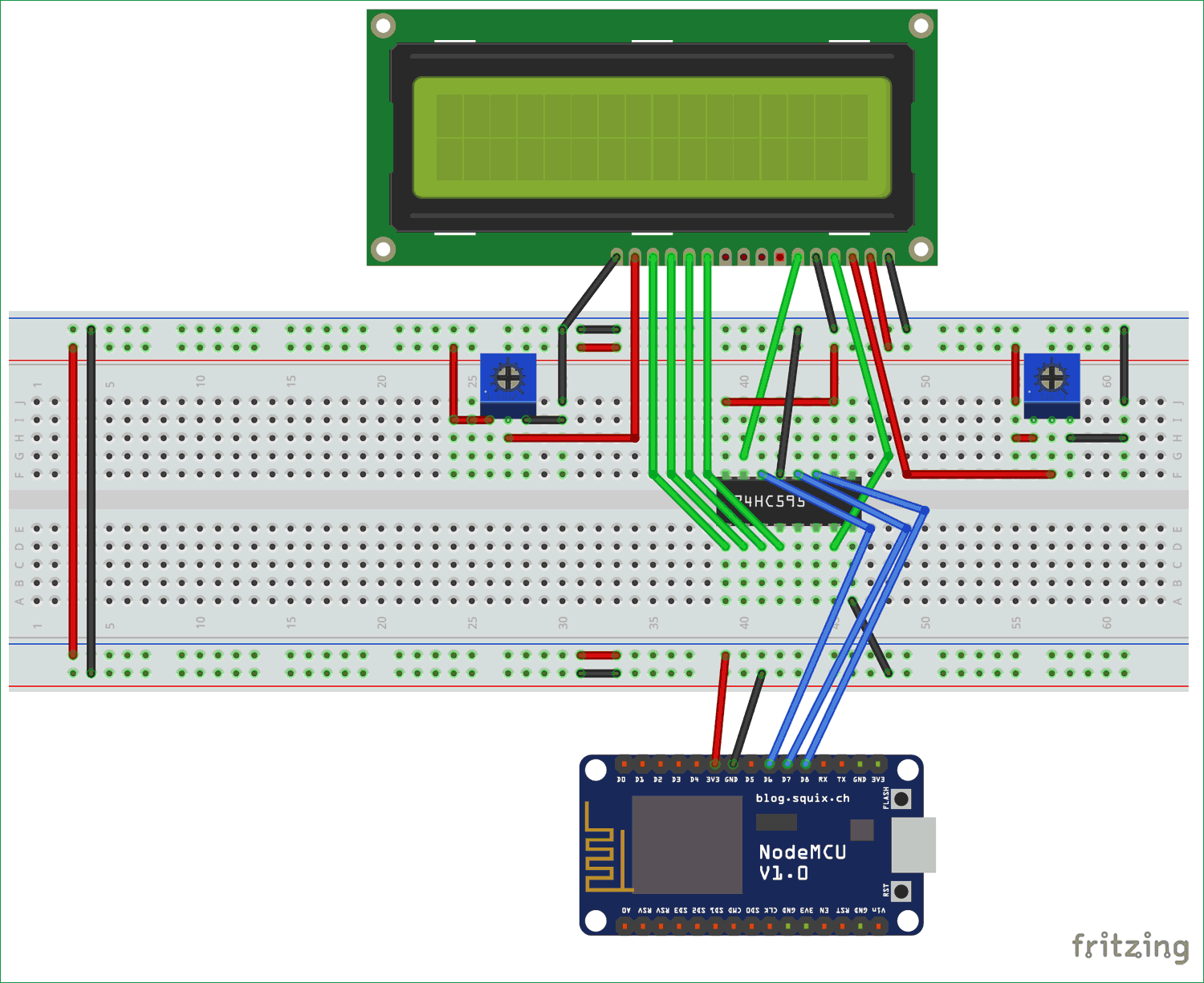Interfacing LCD with NodeMCU ESP12 without using I2C