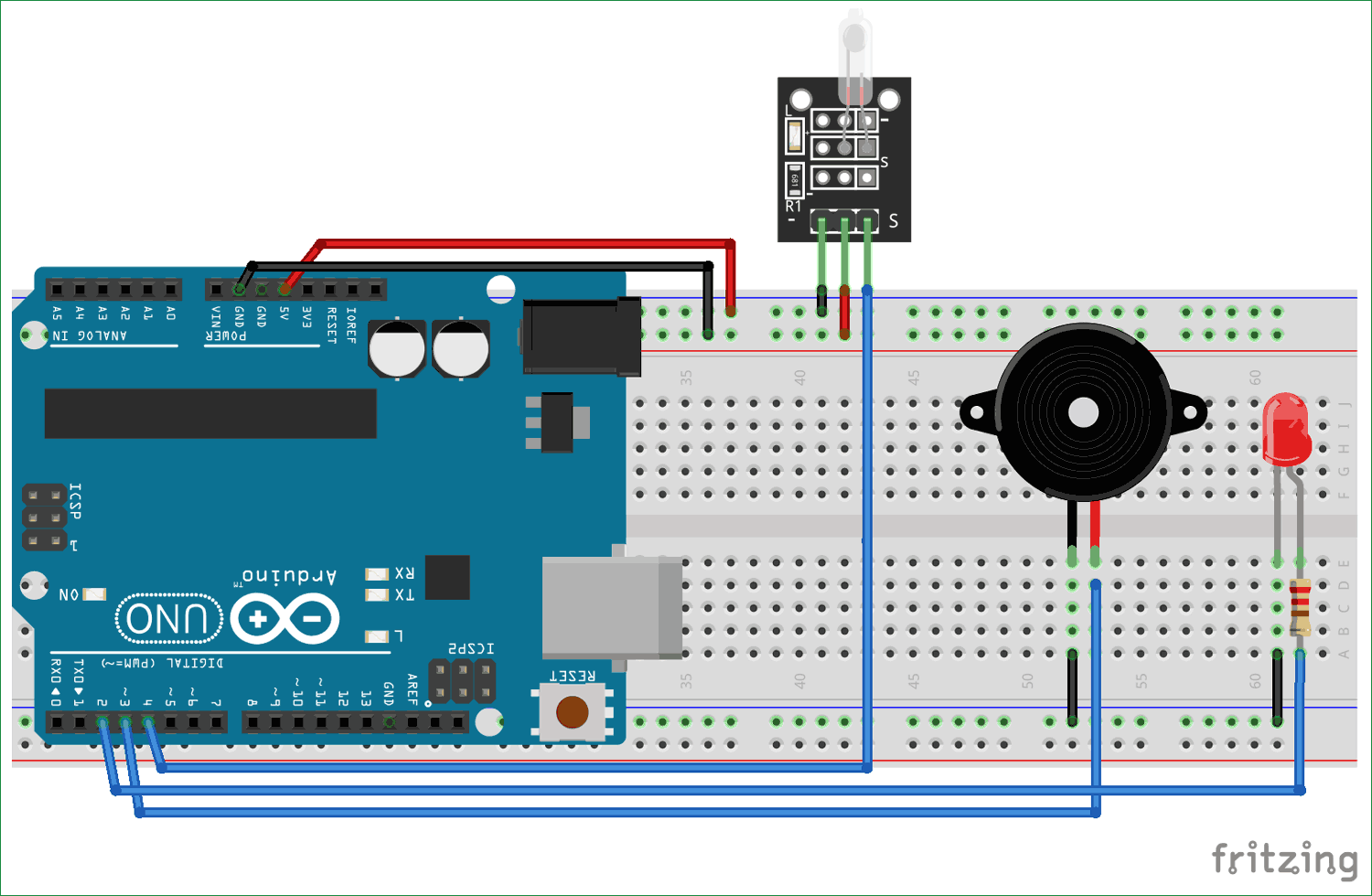 Interfacing Circuit diagram of Tilt Sensor with Arduino
