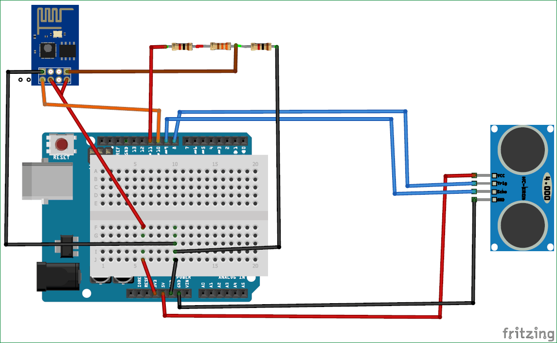 Iot Based Garbage Monitoring Project Using Arduino Esp8266 Circuit Diagram Wireless Printer