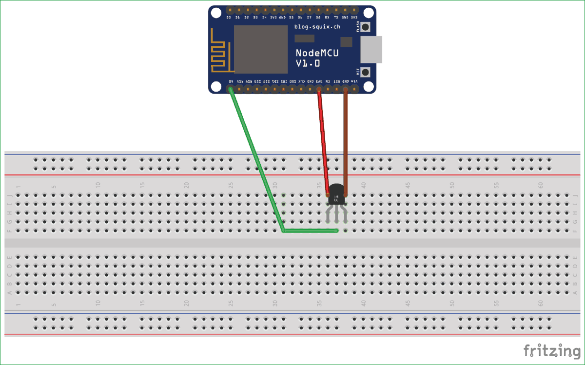 IoT Digital Thermometer circuit diagram using NodeMCU and LM35