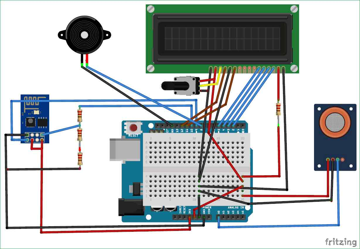 Iot Based Air Pollution Monitoring System Using Arduino Mq135 Sensor Simple Electrical Electronics Projects Library Quality Circuit