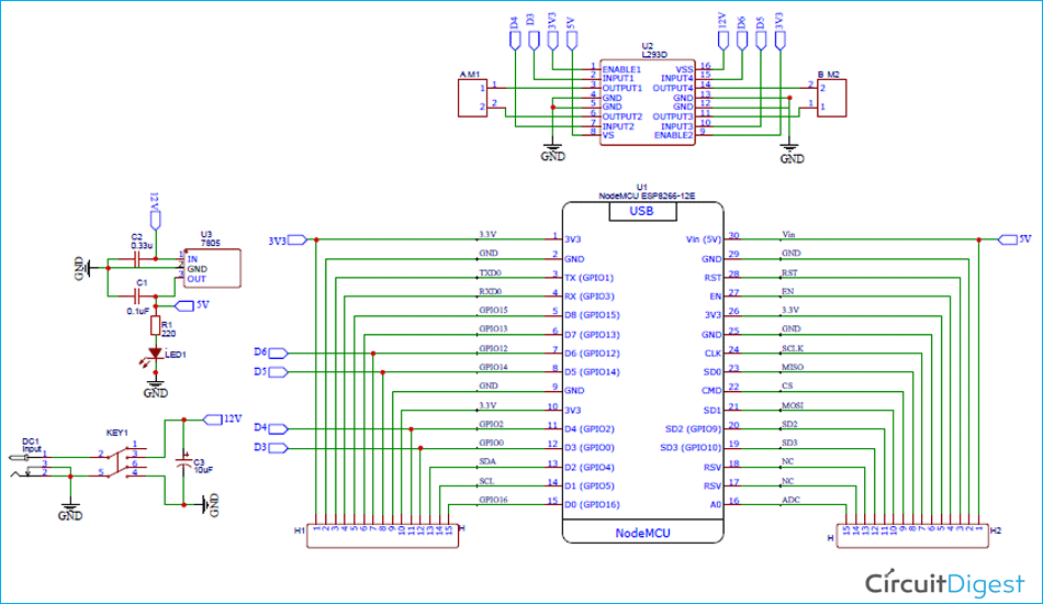 L293D Motor Driver Shield Circuit Diagram
