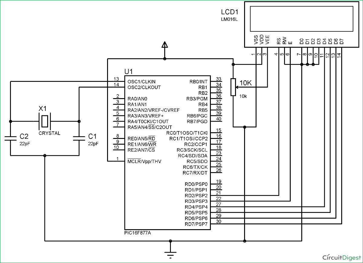 Lcd Interfacing With Pic Microcontroller Pic16f877a Using Mplabx Blinking Led Mikroc Pro Circuit Diagram