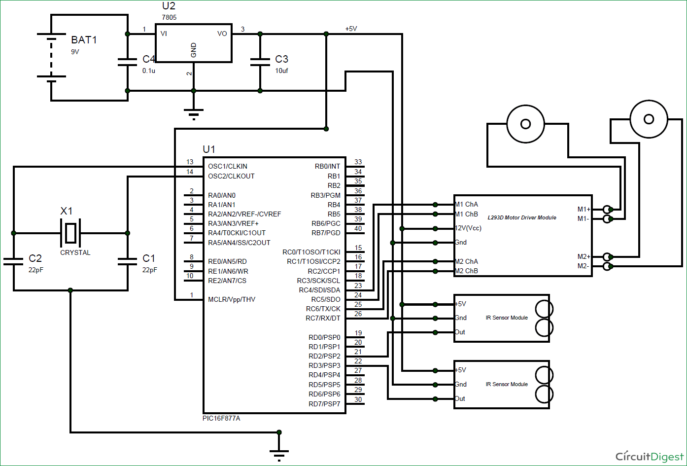 Above Circuit Is The Pair Of Irled And Photo Diode To Detect Line Follower Robot Using Pic Microcontroller Diagram