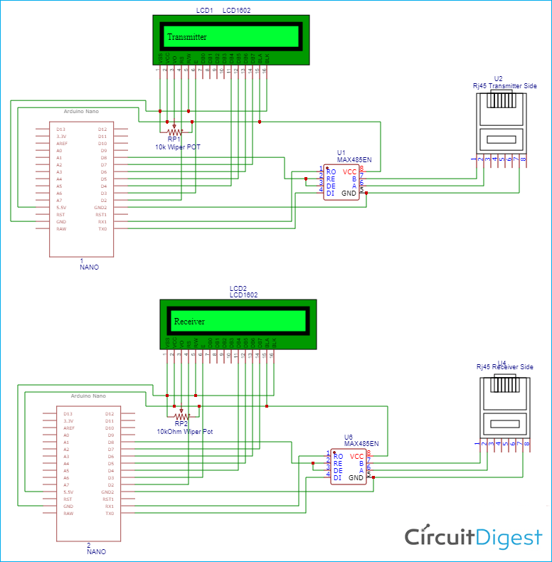 Long Distance Serial Communication using Arduino Circuit Diagram