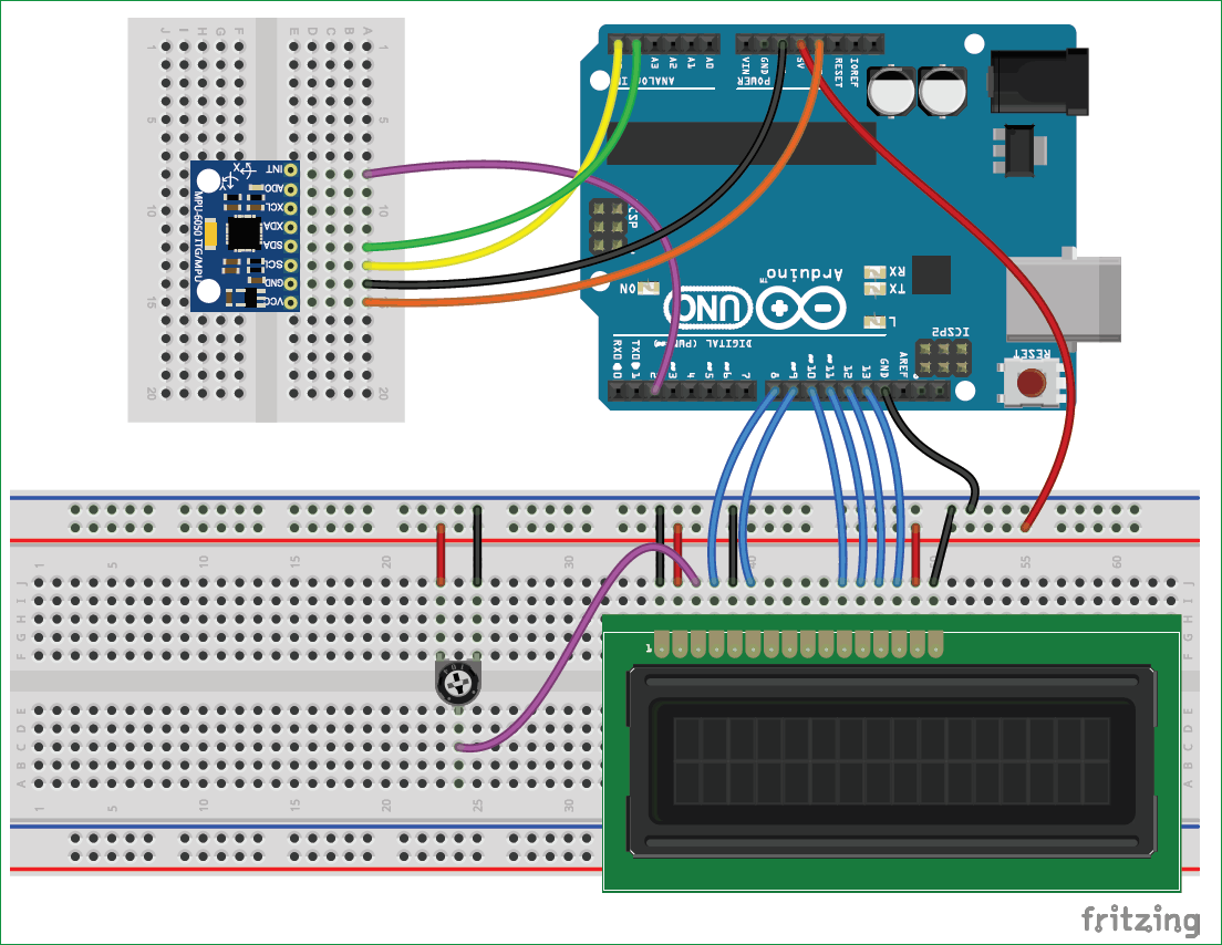MPU6050 Gyro Sensor Circuit diagram for Interfacing with Arduino