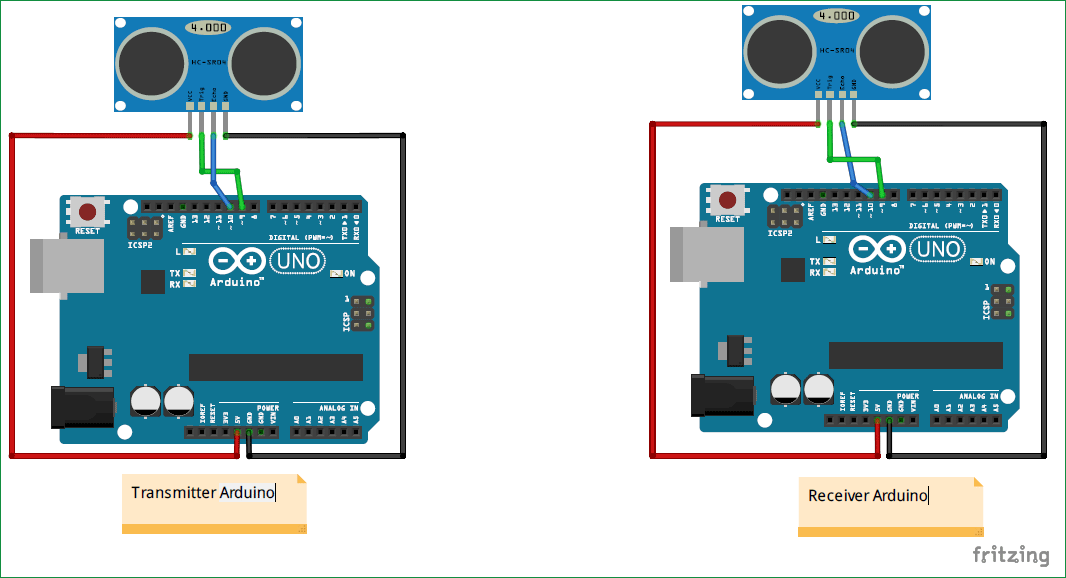 Measuring Distance between two Ultrasonic sensor using Arduino Setup diagram