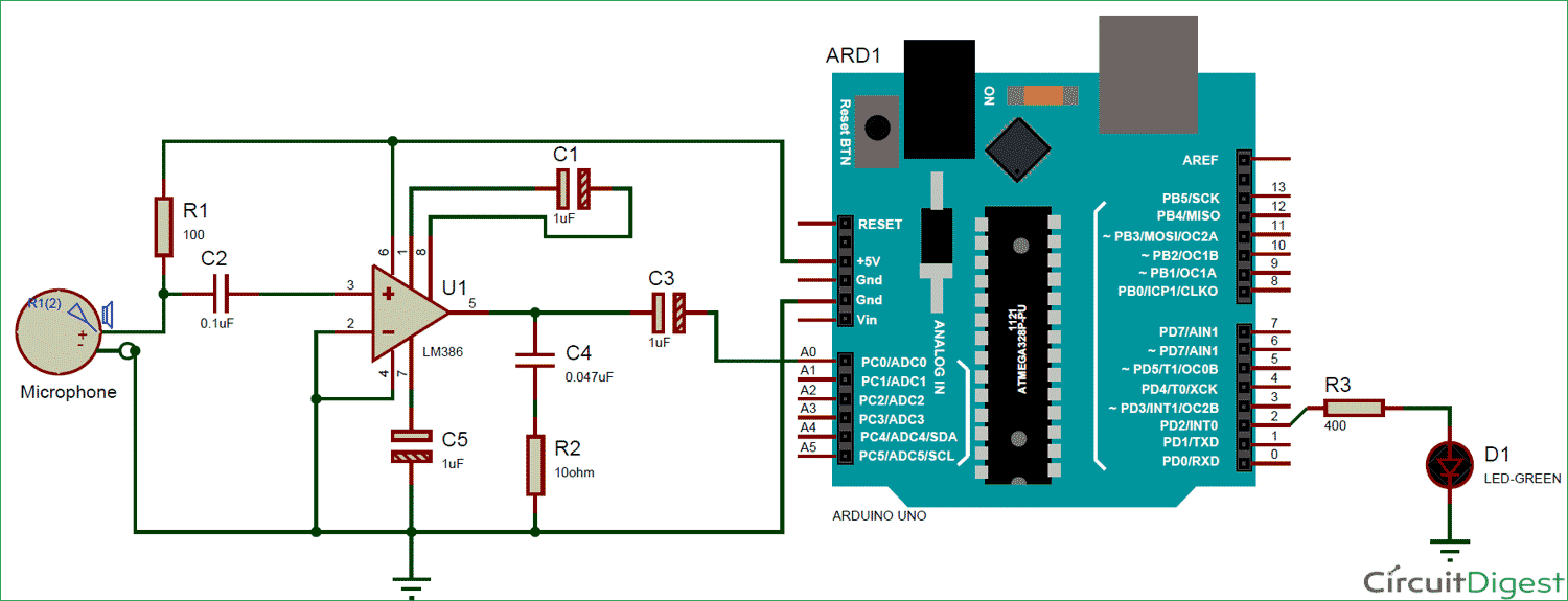 Arduino Sound Level Meter Measure Noise In Db With Single Chip Audio Preamplifier Lm 358 Measuring Microphone And Circuit Diagram