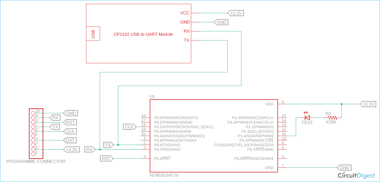 N76E003 UART Communication Schematic