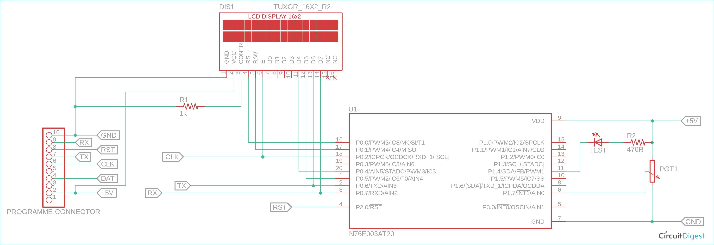 Nuvoton N76E003 Circuit Diagram