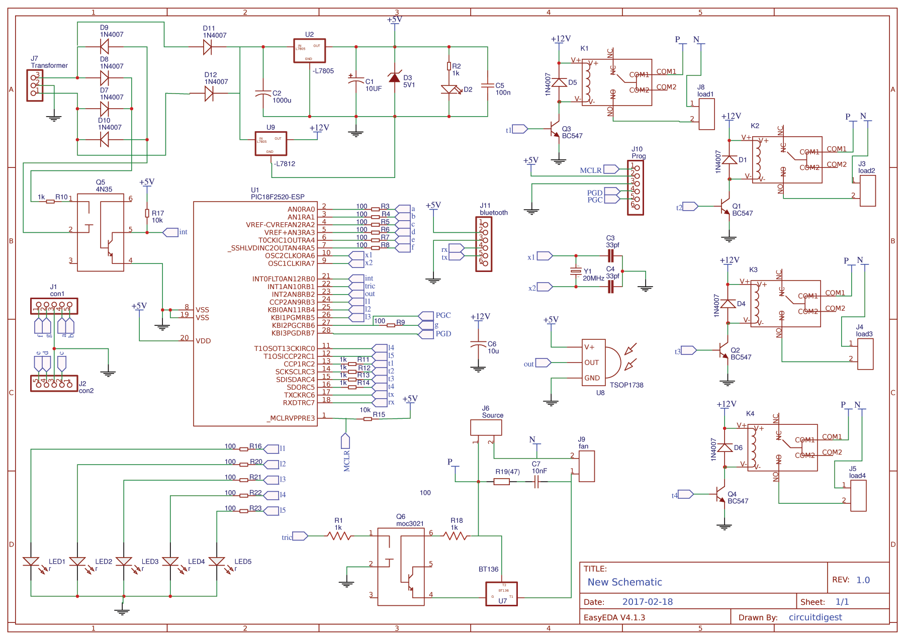 Circuit Diagram for PIC Microcontroller Based Remote Controlled Home  Automation