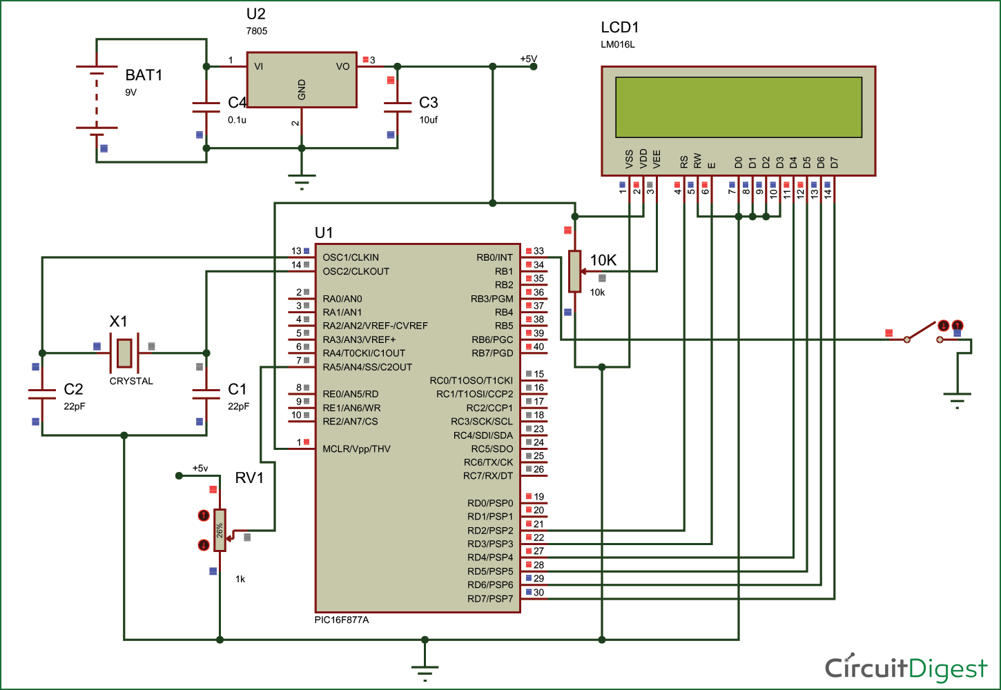 Tutorial to use pic16f877a microcontroller eeprom circuit diagram and explanation ccuart