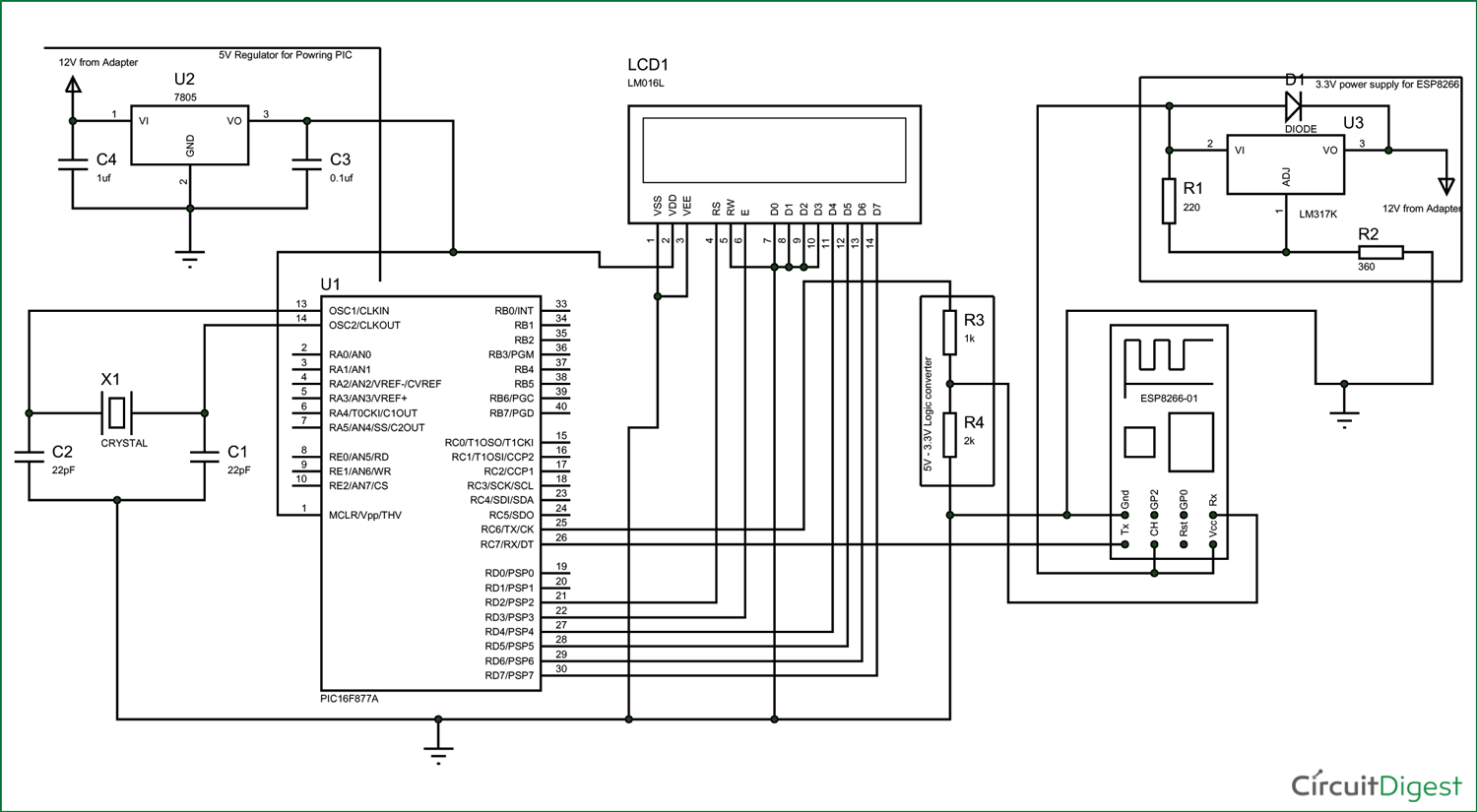 Interfacing Pic Microcontroller With Esp8266 Wifi Module Introduction To 16f877 Circuit Diagram For Pic16f877a