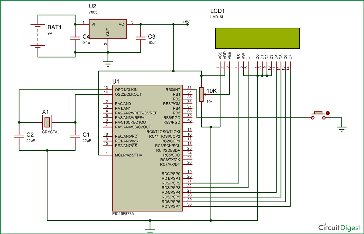 PIC Microcontroller Interrupts Circuit Diagram