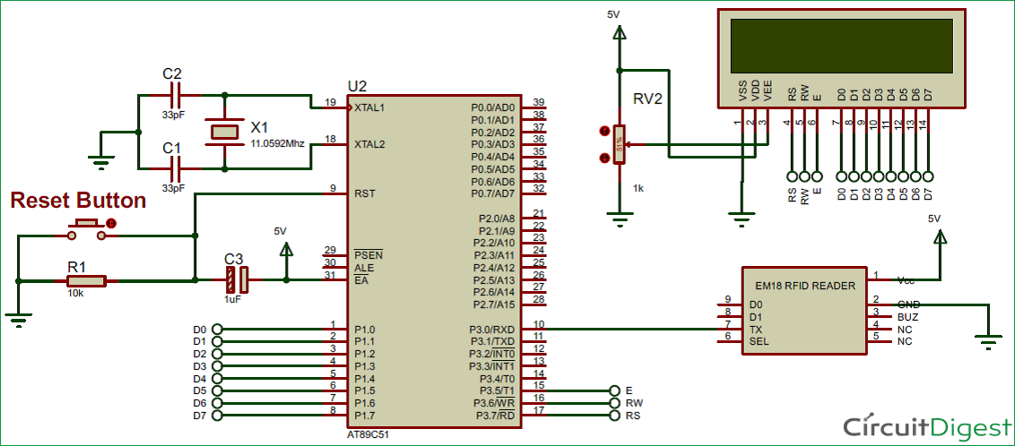 RFID Interfacing with 8051 Microcontroller circuit diagram