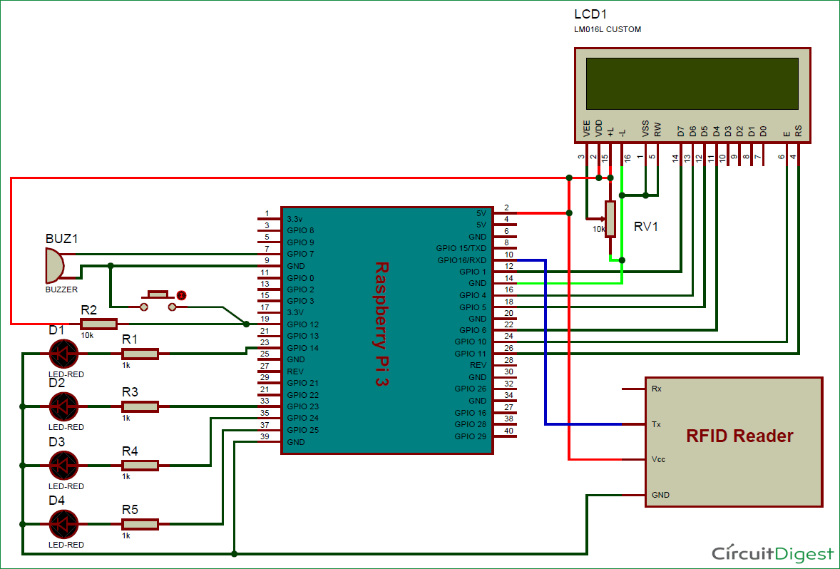 Raspberry Pi And Rfid Based Attendance System Python Wiringpi Input Using Circuit