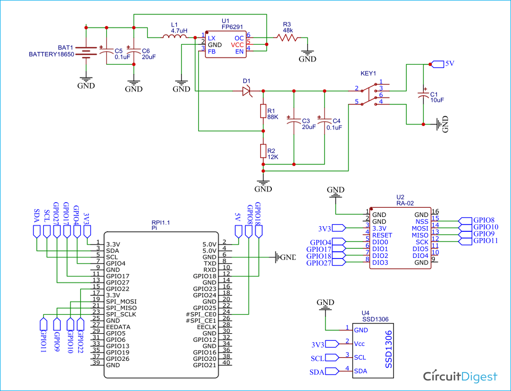 Raspberry Pi LoRa HAT Circuit Diagram