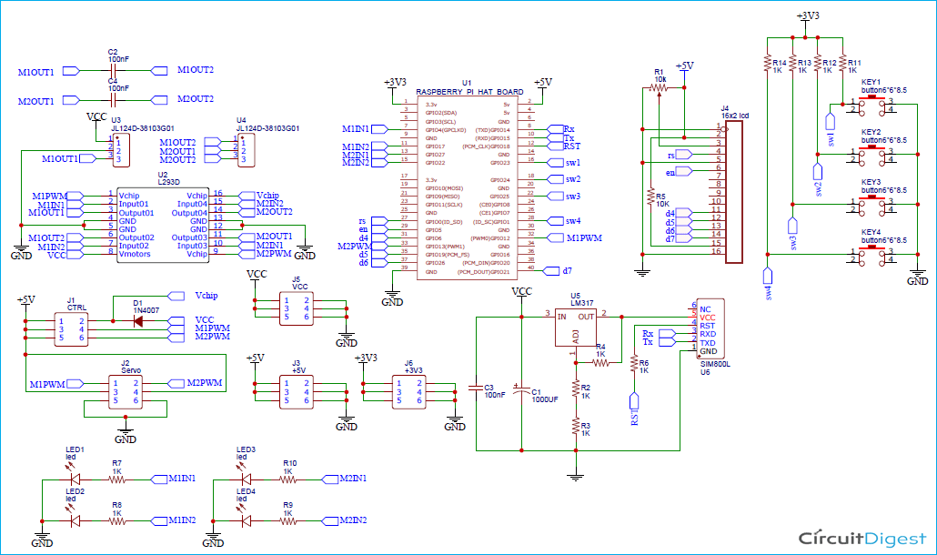 Raspberry Pi Motor Driver HAT Circuit Diagram