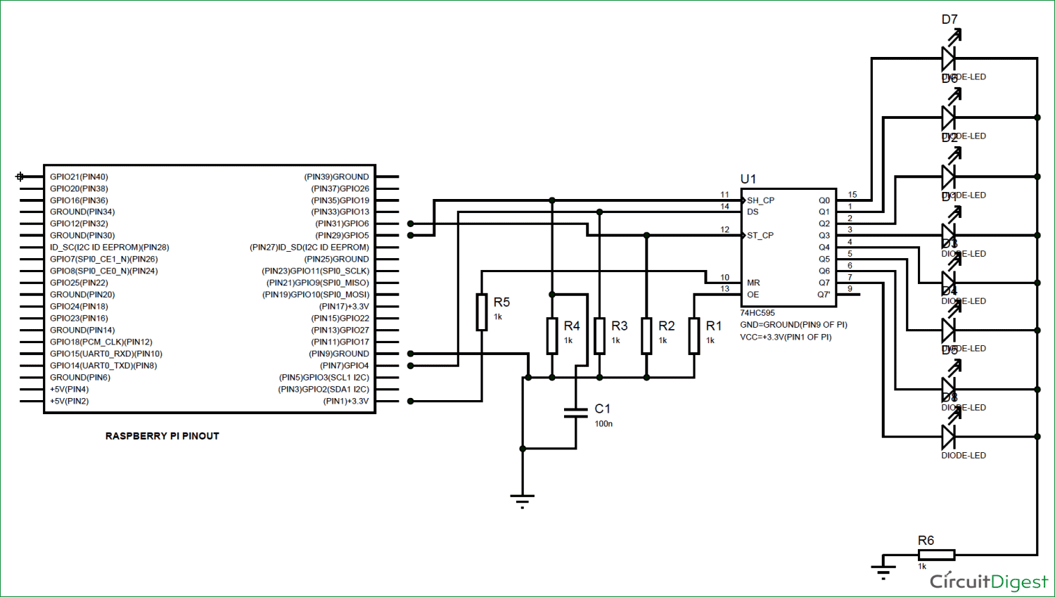 Raspberry Pi with Shift Register circuit diagram