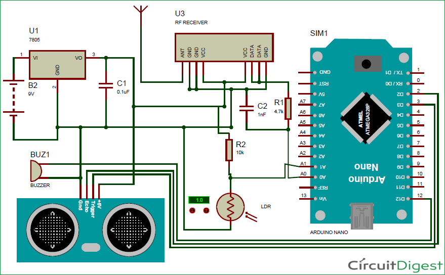 Circuits Diagram Projects | Smart Blind Stick Project Using Arduino And Sensors