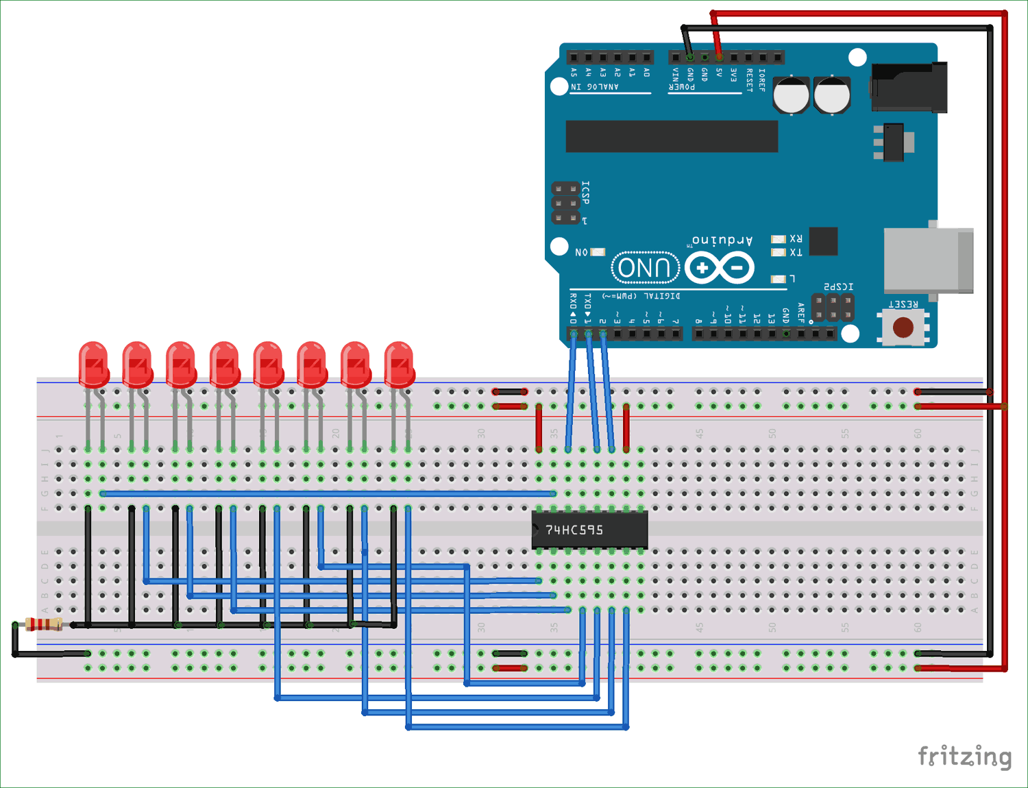 Arduino Uno Shift Register Circuit Diagram