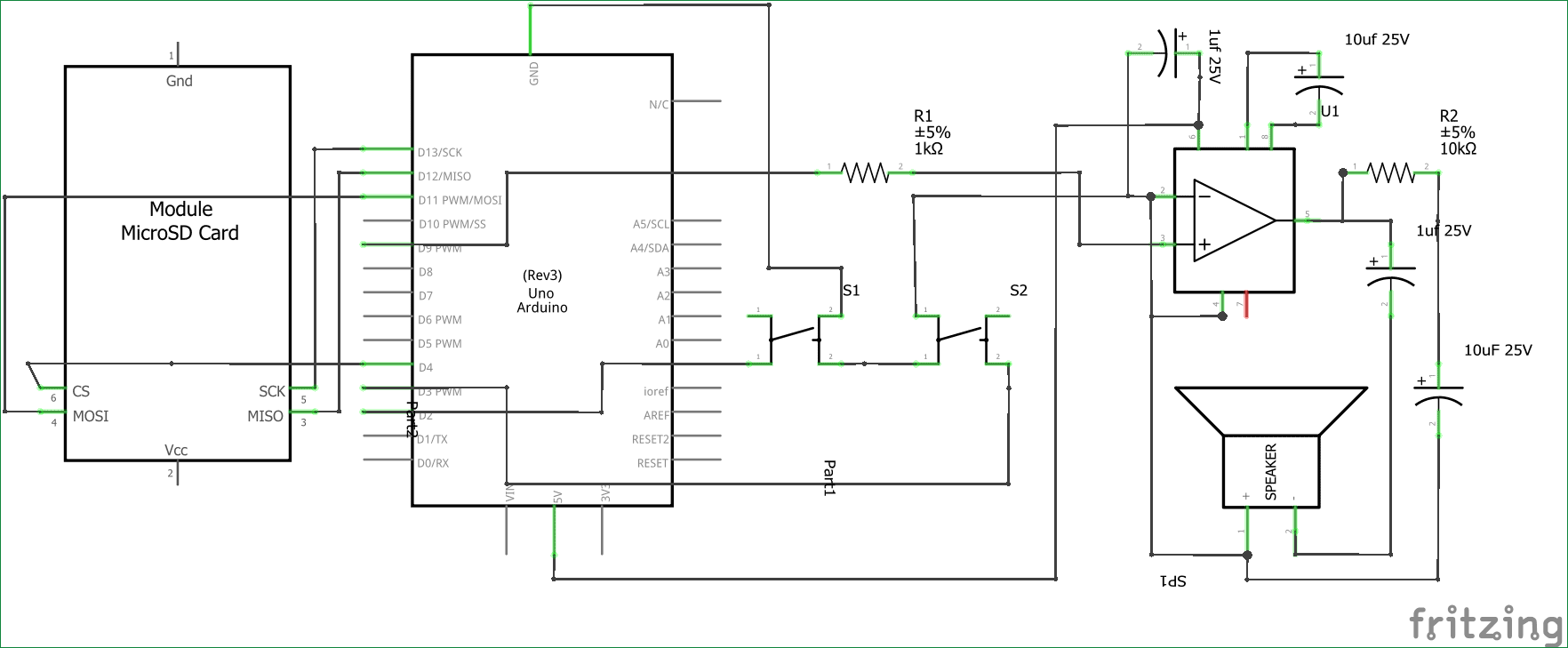 Simple Arduino Audio Player with LM386 amplifier circuit diagram