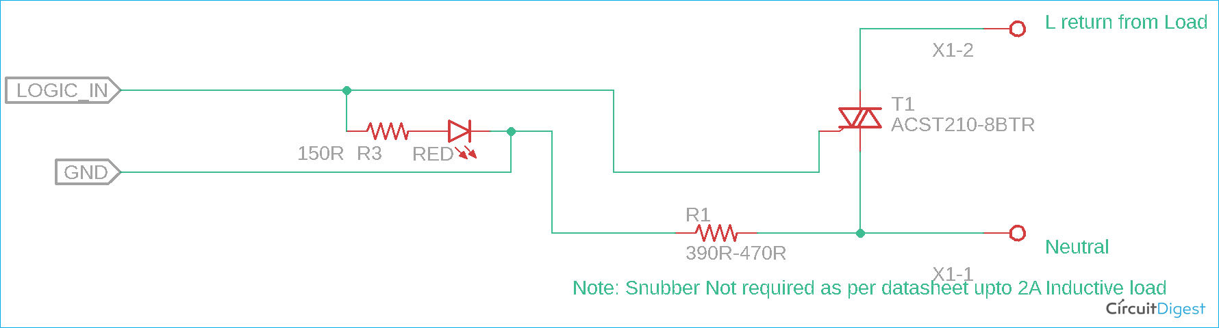 Solid State Relay using TRIAC Circuit Diagram