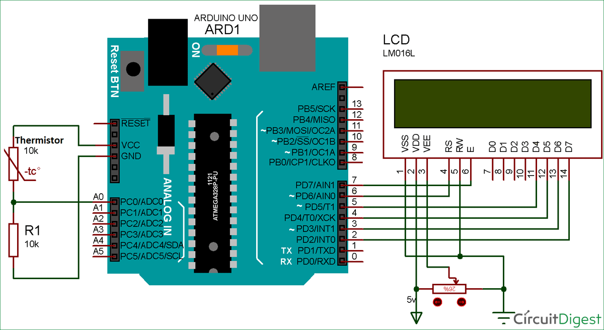 Using Thermistor with Arduino for Measuring Temperature setup