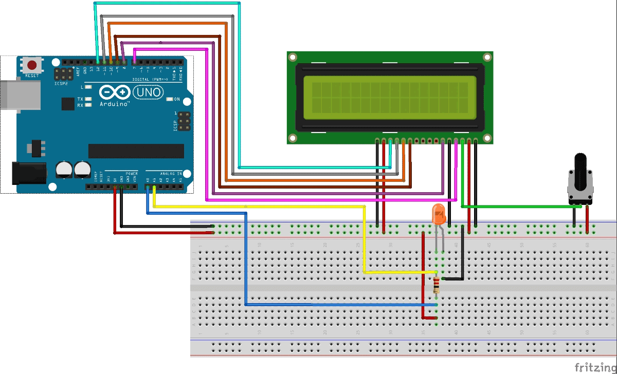Variablerangeledvoltmeterprojectcircuit Arduino Digital Ammeter Project With Circuit Code Based Diagram