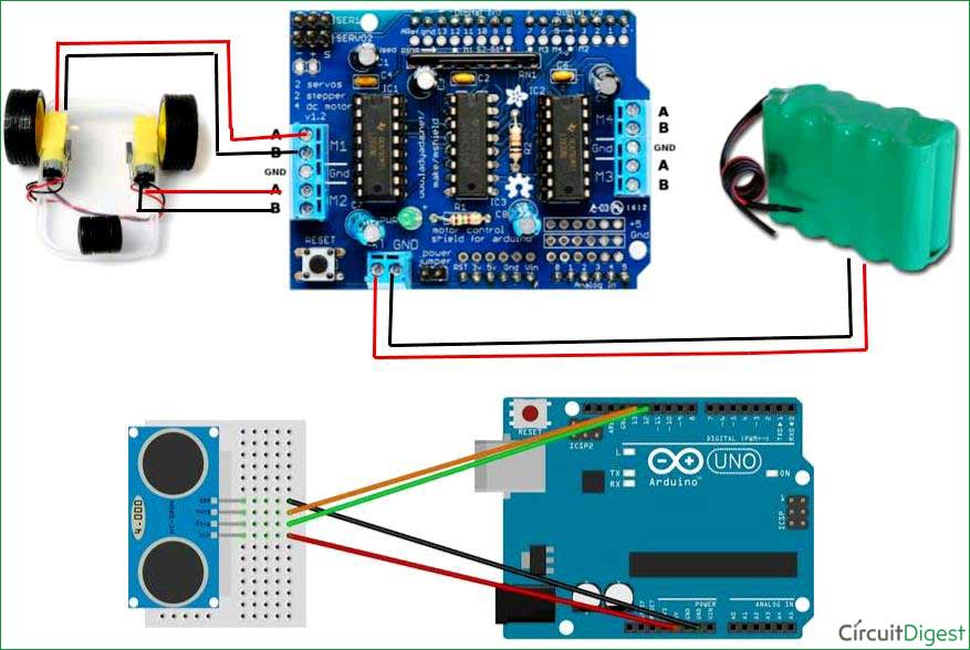 automatic floor cleaning robot using arduino Circuit Diagram