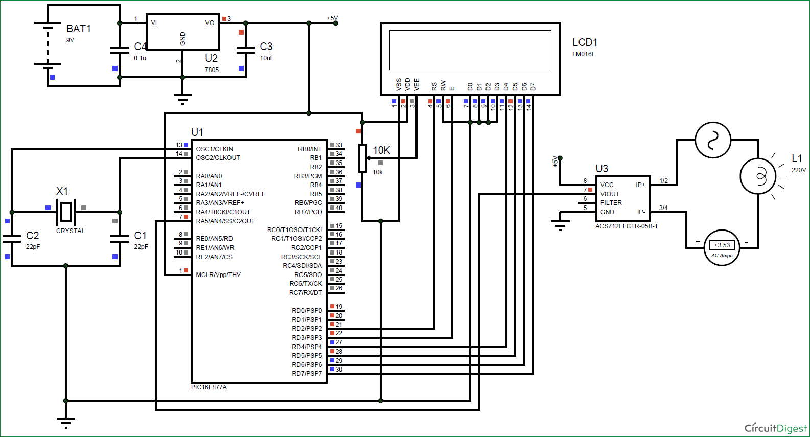 Digital Ammeter Circuit Using Pic Microcontroller And Acs712 Rlc Series Details