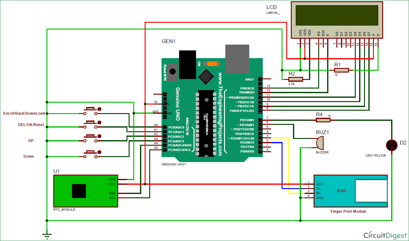 finger print based attendance system using arduino circuit