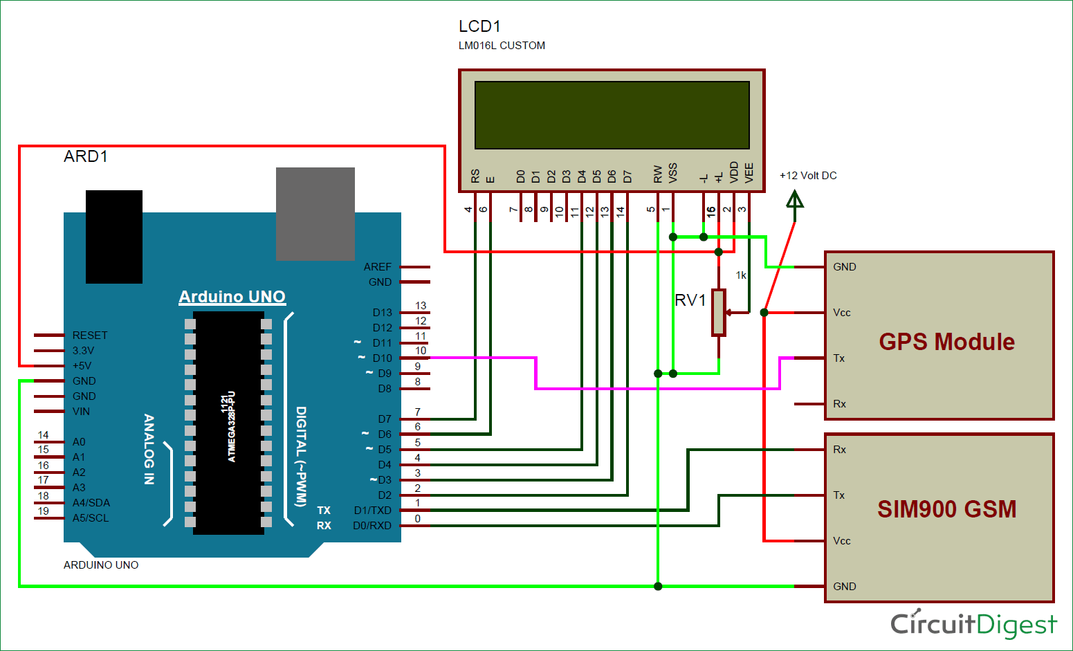 Vehicle Tracking System Project Using Gps And Arduino 8051 Microcontroller Projects 038 Circuits Based Tracker Gsm Circuit Diagram