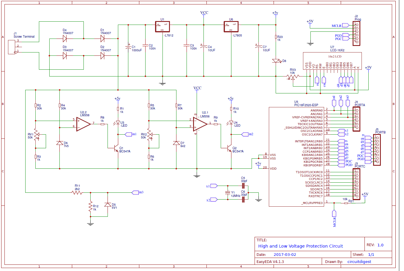 High Low Voltage Detection And Protection Circuit Using Pic Booster Electronic Circuits Diagram Microcontroller