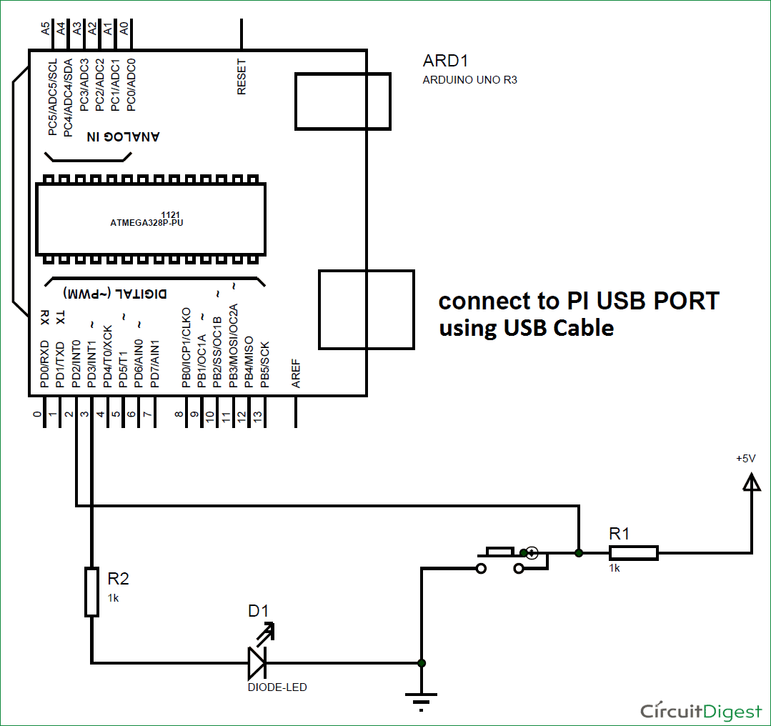 Interfacing Arduino With Raspberry Pi Using Serial Communication Uart Pin Diagram Circuit