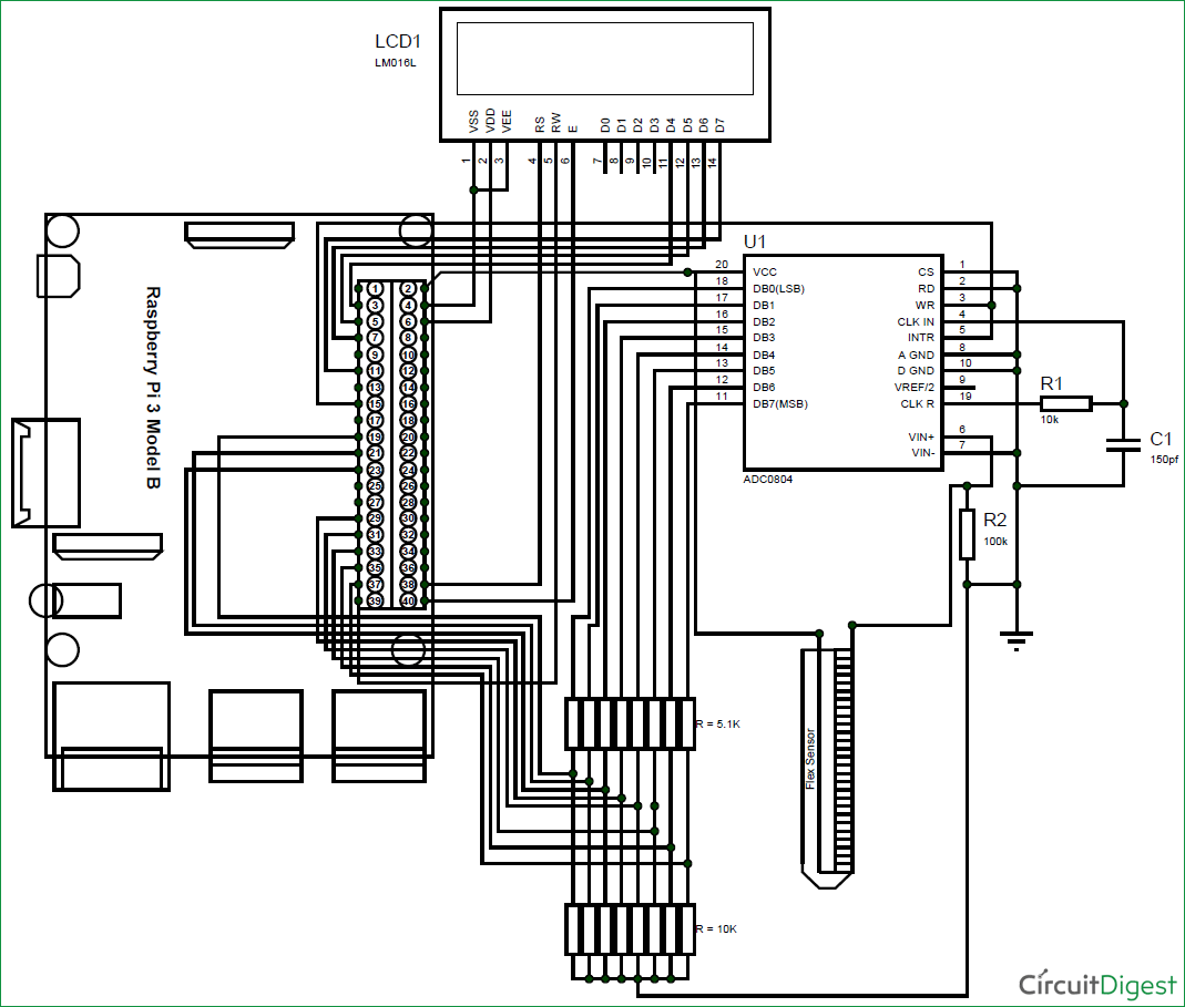 Interfacing Flex Sensor With Raspberry Pi Using Adc0804 Circuitdiagramtointerfacebluetoothwith8085 Circuit Diagram