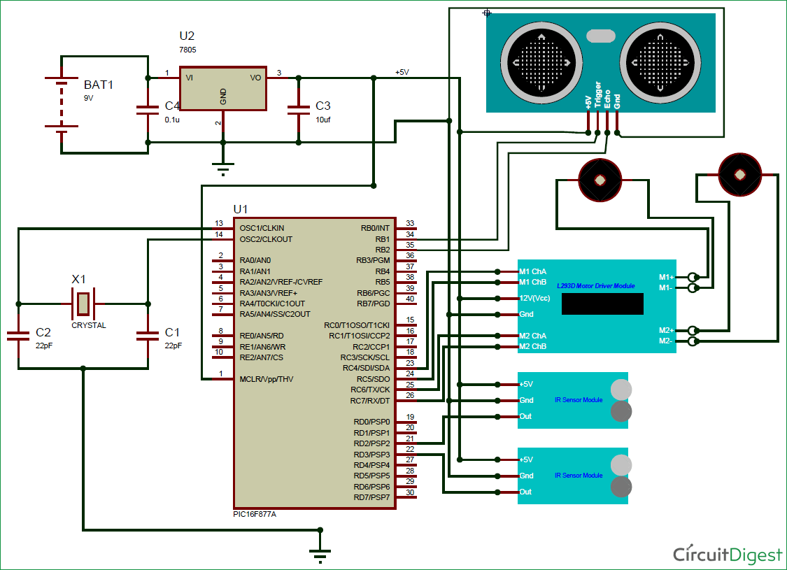 obstacle avoiding robot using pic microcontroller circuit diagram