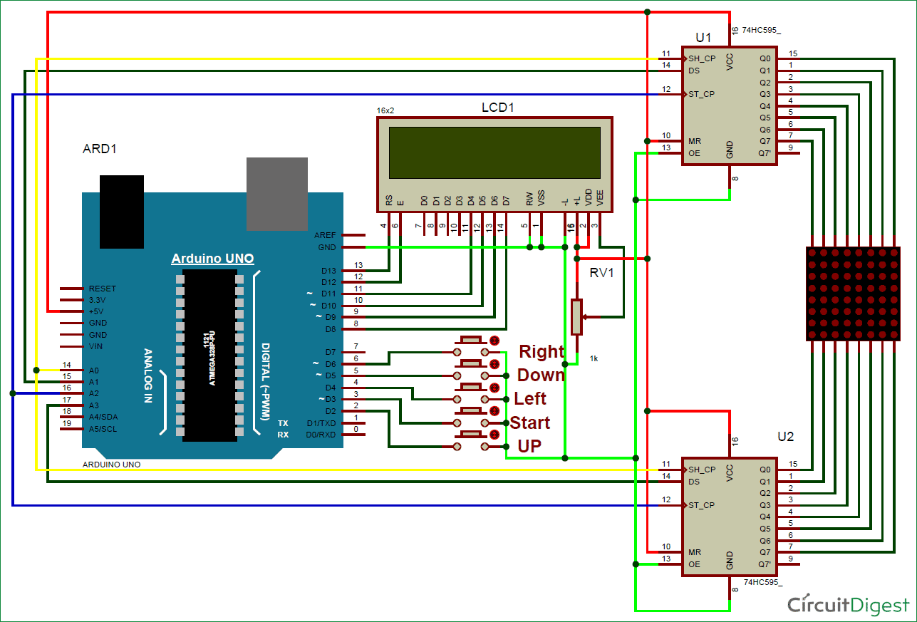 Arduino snake game on led matrix circuit diagram and