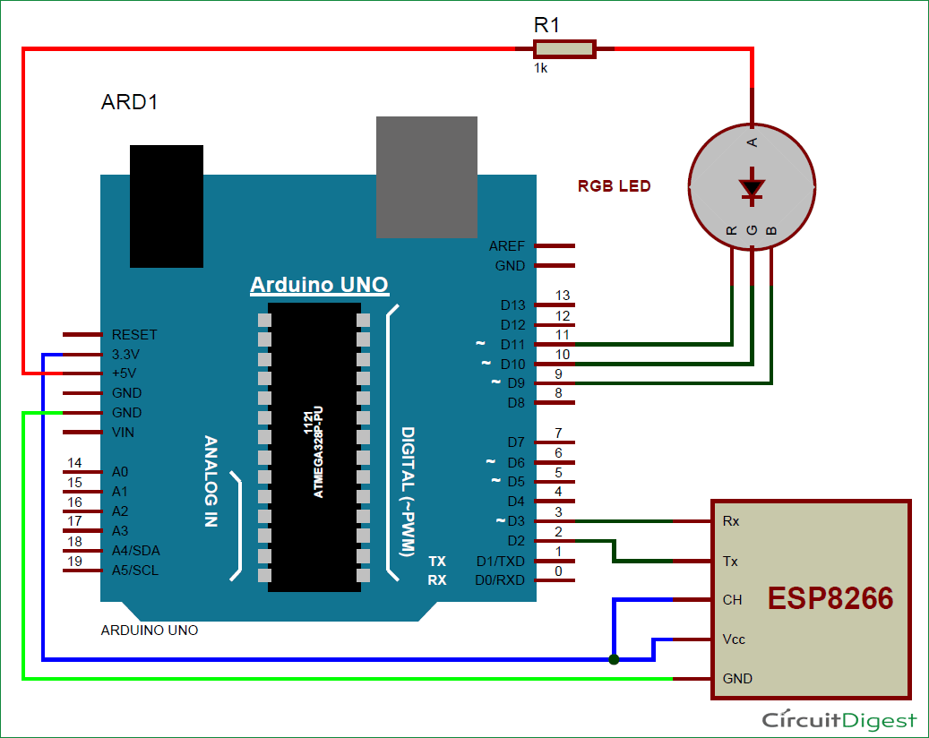 Led Controller Wiring Diagram Dimmer Arduino Rgb Using Wifi Circuit And Code Rh Circuitdigest Com Ltech Mini