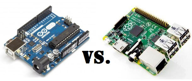 ardunio circuit board on left and raspberry pi circuit board on right with vs in the middle