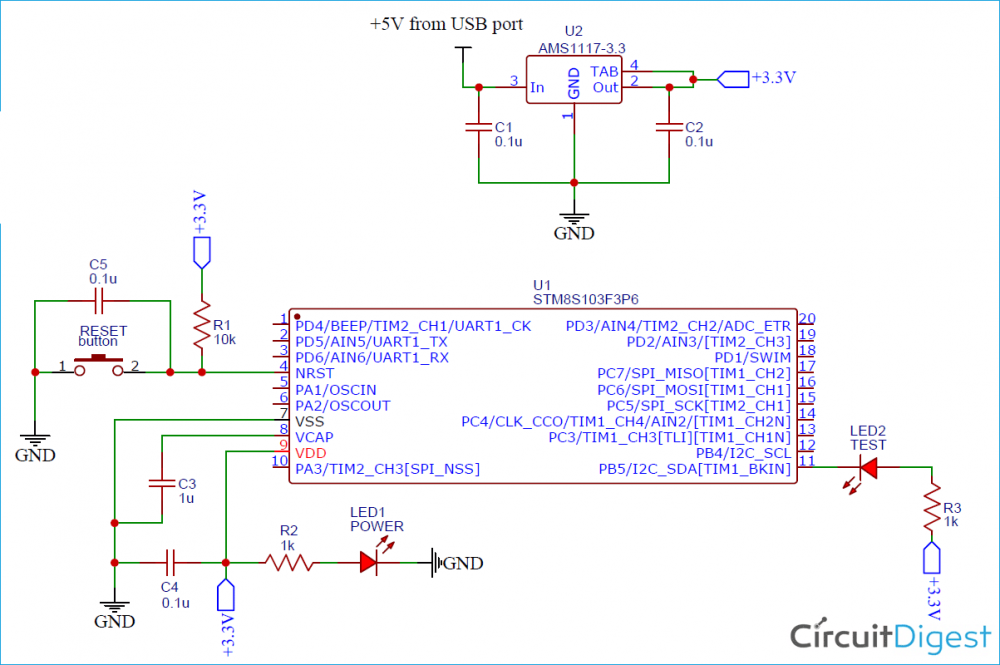 STM8S103F3P6 Development Board Circuit Diagram