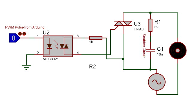 TRIAC and optocoupler connection circuit diagram
